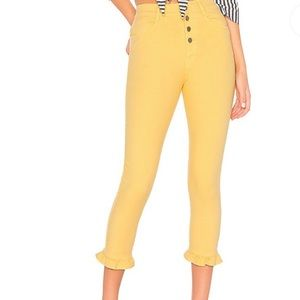 Capulet Buttery Yellow Cropped Ruffle Jeans XS